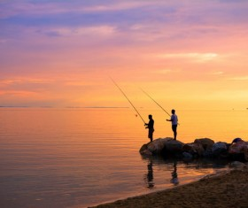 Dusk fishing Stock Photo