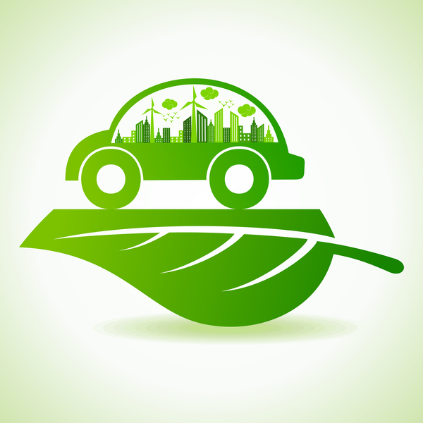 Eco car with city vector logo