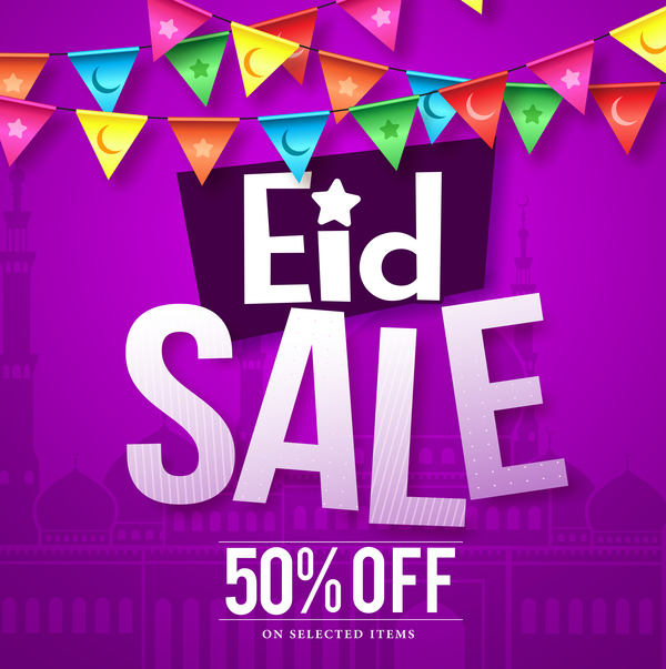 Eid sale discount background vector 01