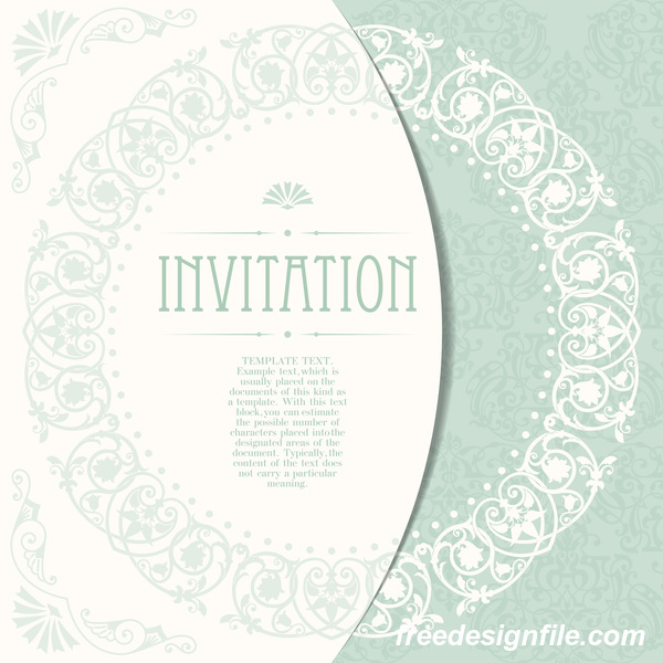 Elegant floral decor with invitation card vectors 01