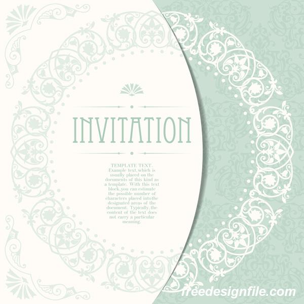 Elegant floral decor with invitation card vectors 01
