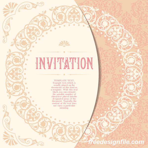 Elegant floral decor with invitation card vectors 02