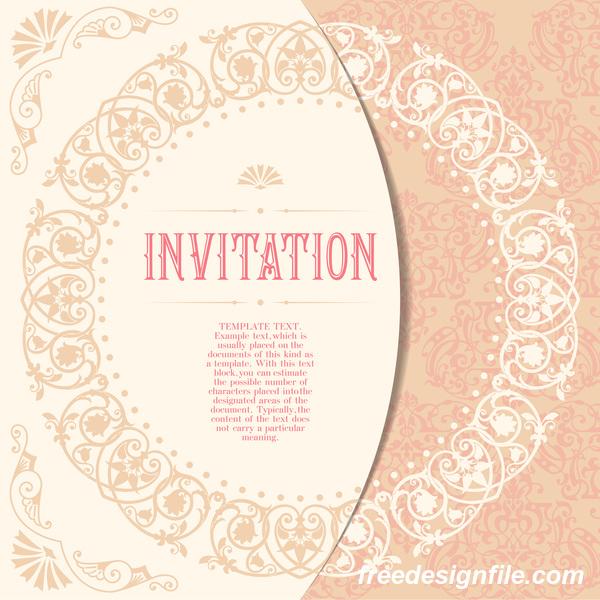 Elegant floral decor with invitation card vectors 02