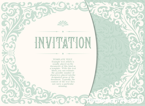 Elegant floral decor with invitation card vectors 03