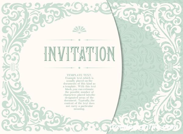 Elegant floral decor with invitation card vectors 03