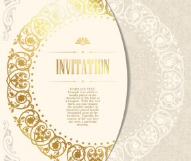 Elegant floral decor with invitation card vectors 04