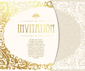 Elegant floral decor with invitation card vectors 05