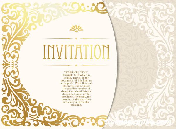 Elegant floral decor with invitation card vectors 05