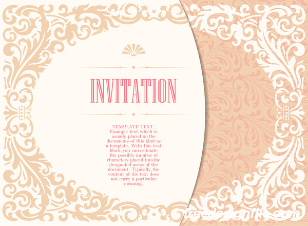 Elegant floral decor with invitation card vectors 06