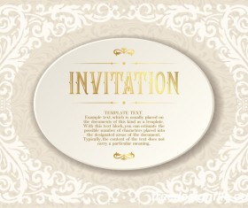Elegant floral decor with invitation card vectors 07