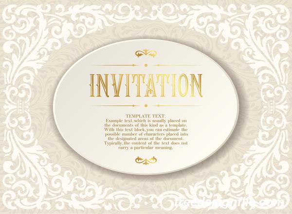Elegant floral decor with invitation card vectors 07