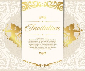 Elegant floral decor with invitation card vectors 08