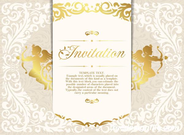 Elegant floral decor with invitation card vectors 08