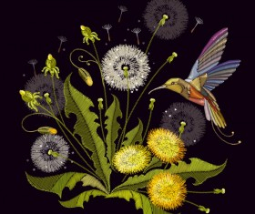 Embroidery dandelion and bird vector