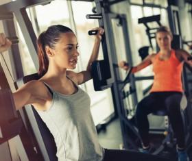 Equipment fitness girl Stock Photo