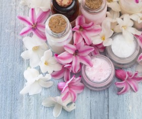 Essential oils and petals on the desktop Stock Photo 03