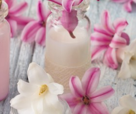 Essential oils and petals on the desktop Stock Photo 10
