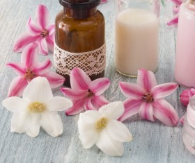 Essential oils and petals on the desktop Stock Photo 13