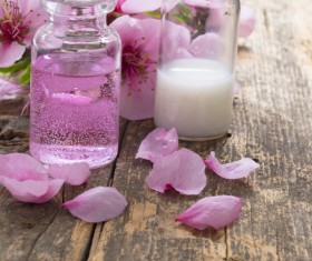 Essential oils and petals on the desktop Stock Photo 15