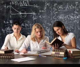 European and American female students to learn Stock Photo