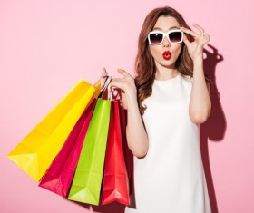 Exaggerated shopping woman Stock Photo 02