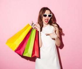Exaggerated shopping woman Stock Photo 03