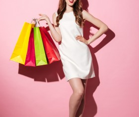Exaggerated shopping woman Stock Photo 04