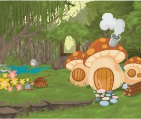 Fairy tale world and mushroom house vector 01