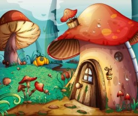 Fairy tale world and mushroom house vector 02