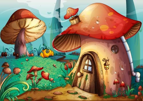 Fairy tale world and mushroom house vector 02