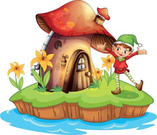 Fairy tale world and mushroom house vector 03