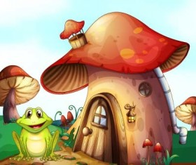 Fairy tale world and mushroom house vector 04