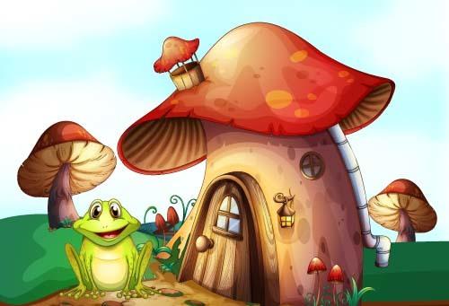 Fairy tale world and mushroom house vector 04