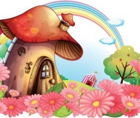 Fairy tale world and mushroom house vector 05