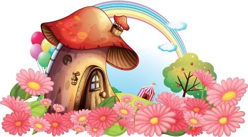 Fairy tale world and mushroom house vector 05