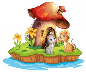 Fairy tale world and mushroom house vector 06