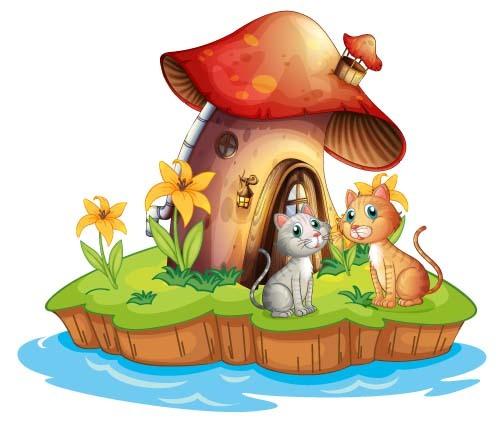 Fairy tale world and mushroom house vector 06