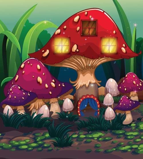 Fairy tale world and mushroom house vector 07