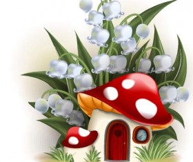 Fairy tale world and mushroom house vector 08