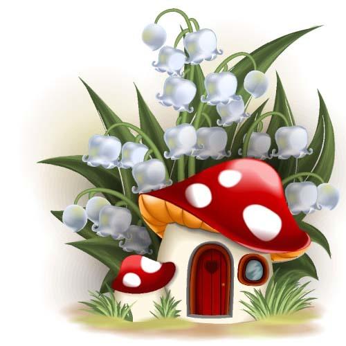 Fairy tale world and mushroom house vector 08