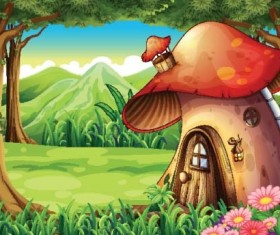 Fairy tale world and mushroom house vector 09