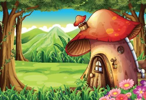 Fairy tale world and mushroom house vector 09