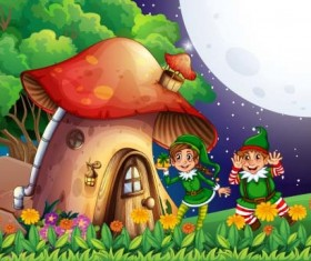 Fairy tale world and mushroom house vector 10
