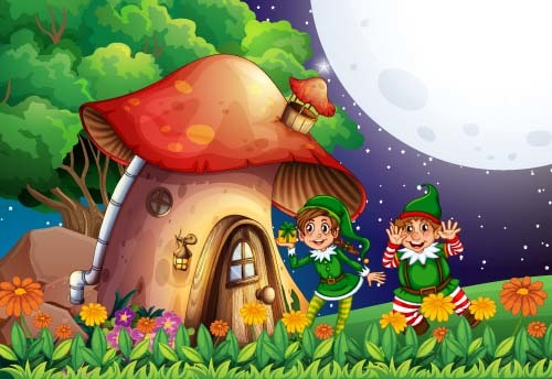 Fairy tale world and mushroom house vector 10