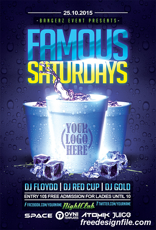 famous saturdays flyer psd template free download