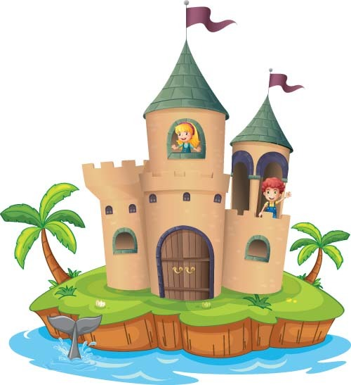 Fantasy castle with kids vectors
