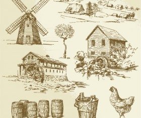 Farm hand drawn sketch vector
