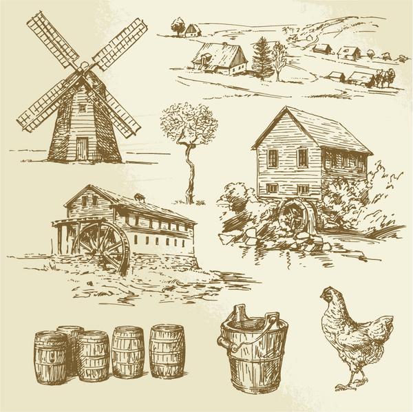 Farm hand drawn sketch vector