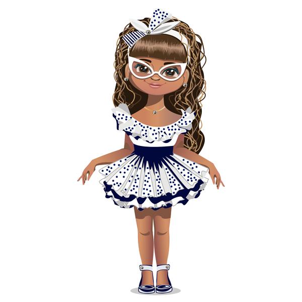 Fashion cartoon girl vector 01