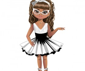 Fashion cartoon girl vector 02